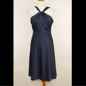 J CREW Navy blue halter formal mid calf dress NEW